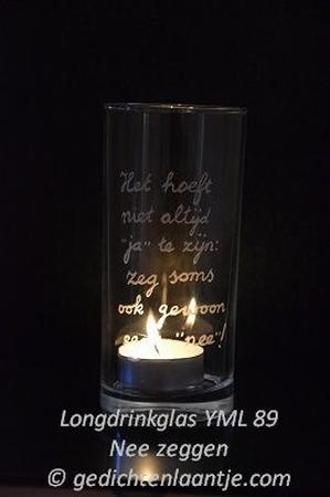 Sfeerlicht/Longdrinkglas glasgravure YML 89