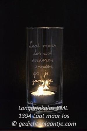 Sfeerlicht/Longdrinkglas glasgravure YML 1394