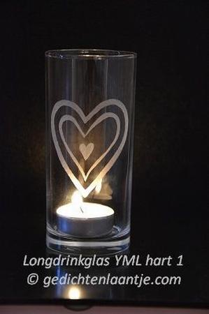 Sfeerlicht/Longdrinkglas glasgravure YML Hart 1