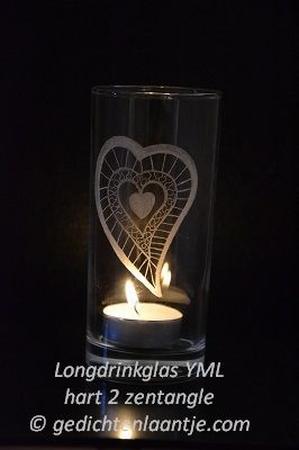 Sfeerlicht/Longdrinkglas glasgravure YML Hart 2 (zentangle)