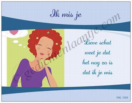 Gedichtkaart YML 1059: Ik mis je