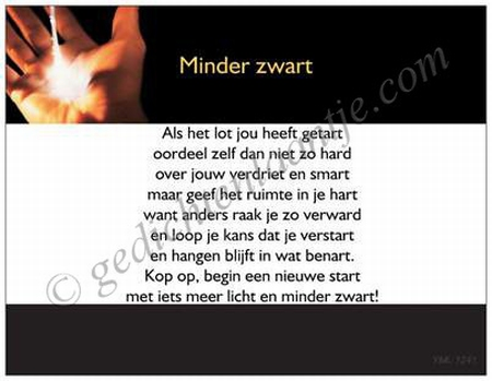 Gedichtkaart YML 1241: Minder zwart