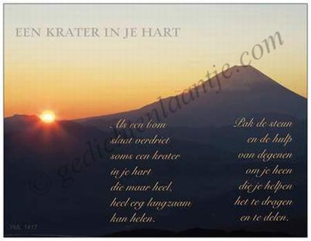 Gedichtkaart YML 1417: Een krater in je hart.
