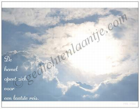Gedichtkaart  YML 1568: De hemel opent zich