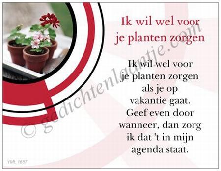 Gedichtkaart YML 1687: Ik wil wel voor je planten zorgen