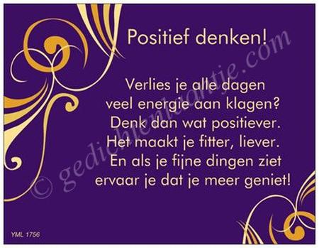 Gedichtkaart YML 1756: Positief denken!