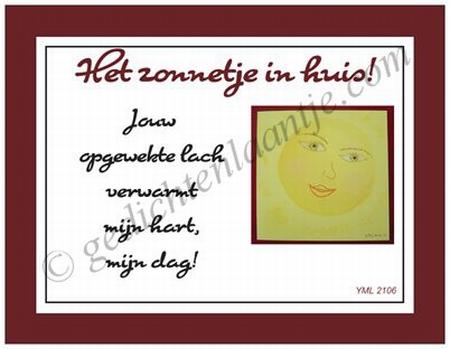Gedichtkaart YML 2106: Het zonnetje in huis!