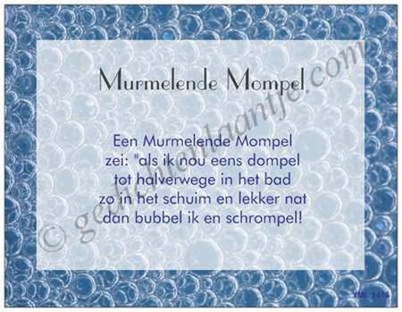 Gedichtkaart YML 1416: Murmelende mompel