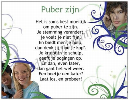 Gedichtkaart YML 763: Puber zijn