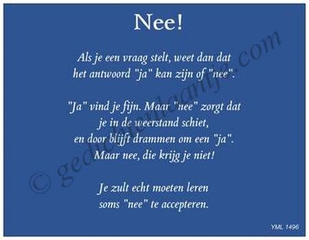 Gedichtkaart YML 1496: Nee!