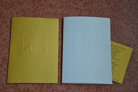 Dubbele kaart reliëf kat met gedicht YML 1278 Kattenvoer