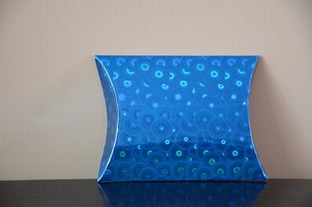 Cadeaudoosje mini, blauw met holografische print cirkeltjes