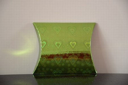 Cadeaudoosje mini, lichtgroen holografische print hartjes