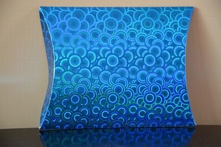 Cadeaudoosje medium, holografische print blauw kleine cirkel