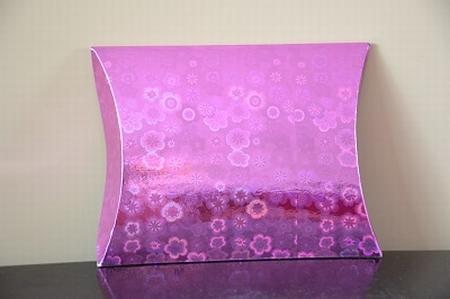 Cadeaudoosje medium, holografische print, roze bloem