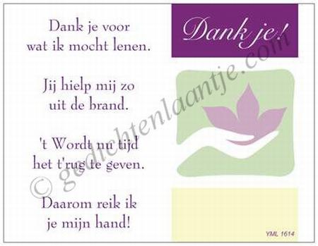 Gedichtkaart YML 1614: Dank je voor het lenen